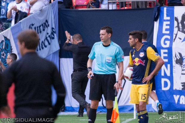 "Whitecaps coach Carl Robinson sent off for ""acting in an irresponsible manner"" but gets backing from Red Bulls counterpart Jesse Marsch"